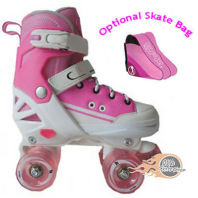 California Pro Kruz Childrens Adjustable Quad Roller Boots Skates Pink • 57.95£