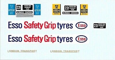 Dinky 289 Routemaster Bus | ESSO SAFETY-GRIP TYRES | Waterslide Transfer / Decal • 4£