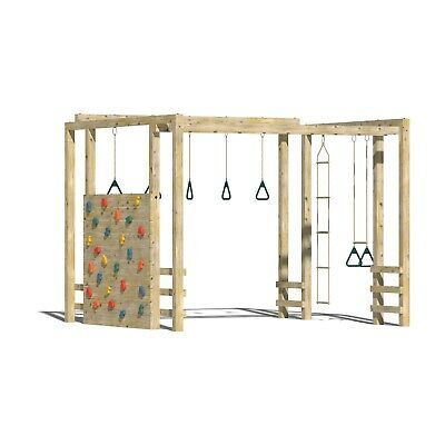 WARRIOR - 10ft Squared Play Frame, Monkey Bars, Swings, Rock Wall, Step Up Bars • 970£