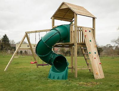 LOUISIANA - Enclosed 1.5m Tube Slide, 5ft Tower, Rock Wall, Swings, Garden Fun • 1,286£