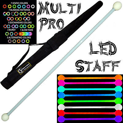 LED Glow Staff MULTI-LIGHT (28 Settings) Multifunction Pro LED Staff + Bag • 52.99£