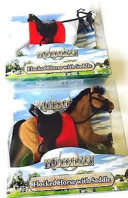 EQUESTRIAN TOY HORSE  Flocked Horse With Saddle In Brown 6  WITH New Boxed • 7.99£