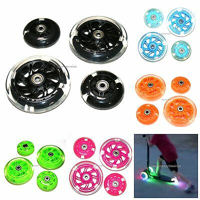 4x LED FLASH WHEEL SET FITS MAXI MICRO SCOOTER FLASHING LIGHTS FRONT REAR ABEC-9 • 26.95£
