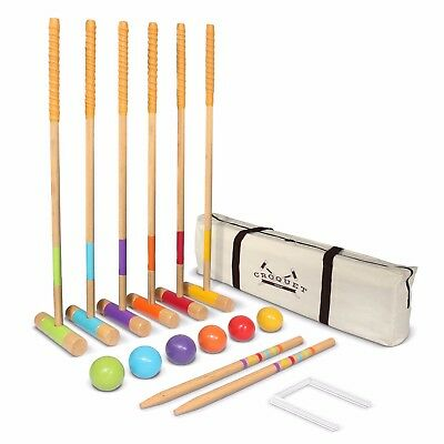 GoSports Premium Wood Croquet Set - Full Size For Adults & Kids W Carrying Case • 44.95£
