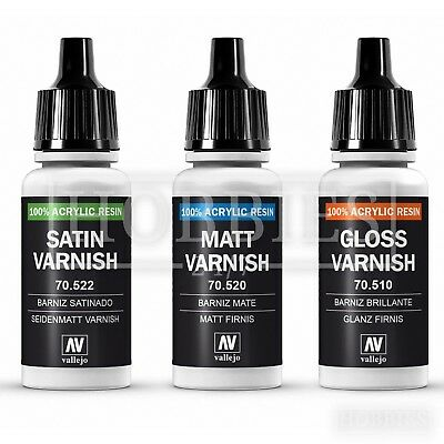 Vallejo Varnish Gloss Matt Satin Acrylic Resin Model Airbrush Paint 17ml Bottle • 3.39£