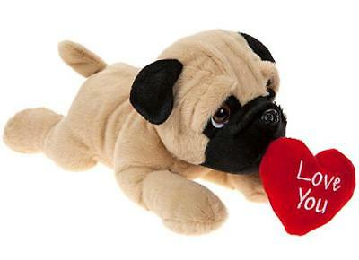 Pug 30cm With Love Heart Laying Dog Valentines Day Cuddly Soft Toy Teddy • 10.99£