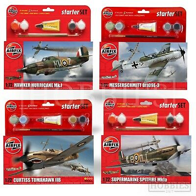 Airfix 1:72 Model Kits Starter Sets Paint Brush Cement Spitfire Plane Aircraft • 12.99£