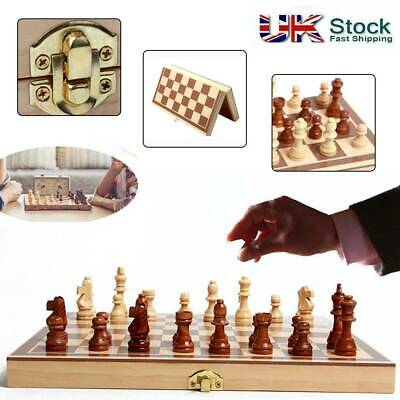 Folding Wooden Chess Set High Quality Standard Chess Set Wooden UK SELLER • 9.29£