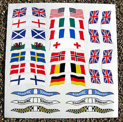 SLOT CAR SCALEXTRIC SCX 1/32nd Vintage Retro WORLD FLAGS Stickers Decals  • 8.95£