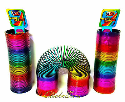 2 X 15cm Large Rainbow Magic Spring Coil Slinky Fun Toy Stretching 10m Bouncing • 7.99£