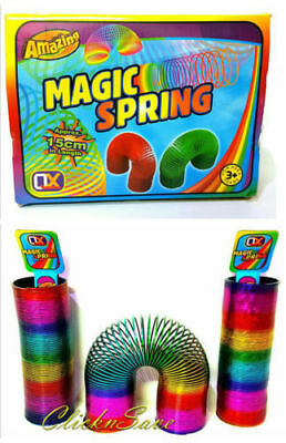 2x 15cm Large Rainbow Magic Spring Coil Slinky Fun Toy Stretching 10m Bouncing • 7.99£