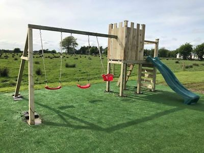 HILLTOP - Castle Themed Climbing Frame, Look Out Tower, Swings, Rock Wall, Slide • 970£