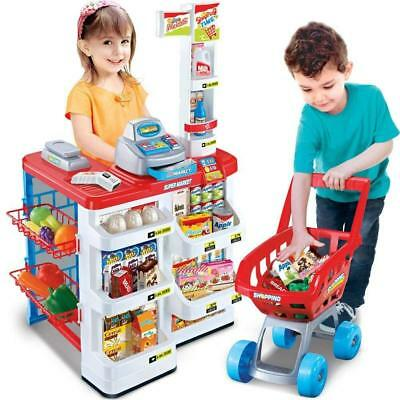Kids Supermarket Shop Grocery Pretend Toy Trolley Play Set Light Sound Play Gift • 29.95£