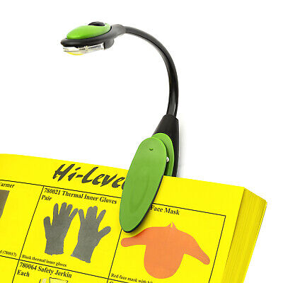 LED Travel Light Reading Lamp Green Flex Clip On Torch Bright Night Book Camping • 2.99£