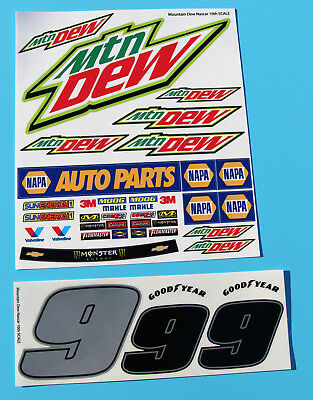 RC 10th 1/10 SCALE Nascar 'MOUNTAIN DEW' Number 9 Model Car Decals Stickers  • 10.95£