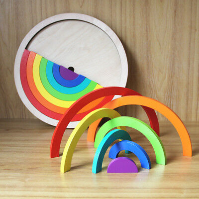 Wooden Montessori Rainbow Color Stacking Blocks Kids Toy Gift Educational • 11.08£