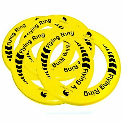 Pack Of 4 Yellow Flying Rings - Fun Outdoor Summer Toys - Frisbee Type Toys • 3.99£
