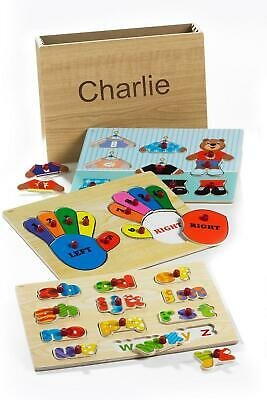 3 Large Wooden Peg Puzzle In Box Educational Learning Teach Jigsaw Play Fun • 7.99£