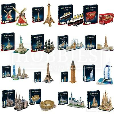 Revell 3D Puzzle Windmill London Bus Big Ben Paris Eiffel Tower New York Liberty • 16.99£