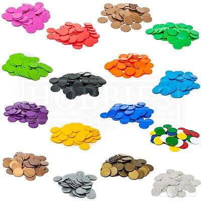 22mm Counters Plastic Tiddly Winks Opaque Board Game White Blue Green Black • 3.90£