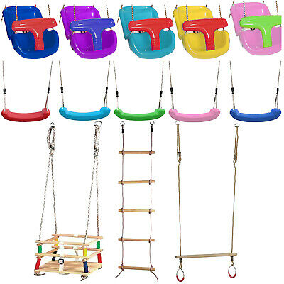 Kids Baby Children's Swing Seat Swing Seat Wooden Trapeze Swing Climbing Ladder • 19.95£