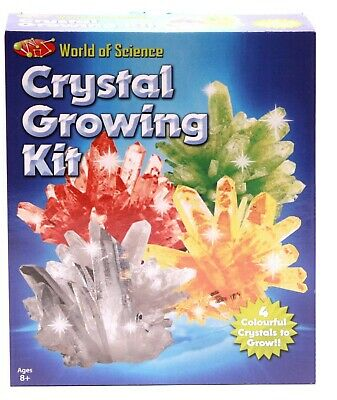 World Of Science Crystal Growing Kit Grow Your Own 4 Colourful Crystals Learn 8+ • 5.99£