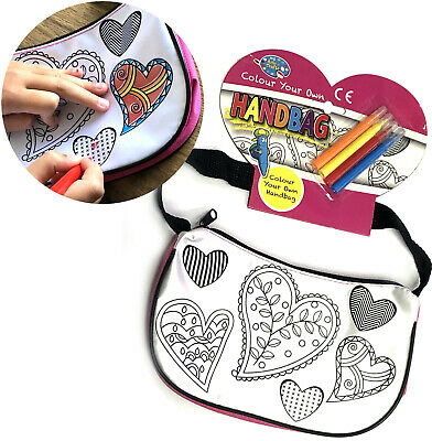 Colour Your Own Handbag & Colouring Pens Girls Toy Gift Activity Home Off School • 3.95£