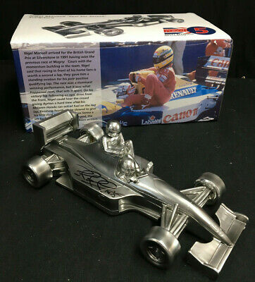 Nigel Mansell SIGNED Chrome Sculpture, Williams FW14 'Taxi For Senna' Formula 1 • 199.95£