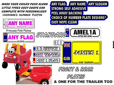 3 X Personalised Number Plate Stickers Exact Fit Little Tikes Cozy Coupe Car  • 2.49£