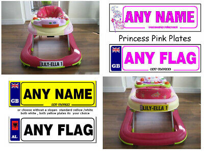 2 X Personalised Number Plate Stickers For Baby Walkers & Push Along Cars & Toys • 2.49£