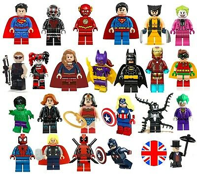 Super Heroes Minifigures Custom + Lego Superhero Single Mini Figures MiniFigs • 15.99£