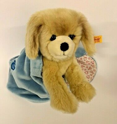 Steiff ~ KELLY (Golden Retriever) Dog In Soft Blue Heart Bag ~ 22cm ~ EAN 077043 • 42£