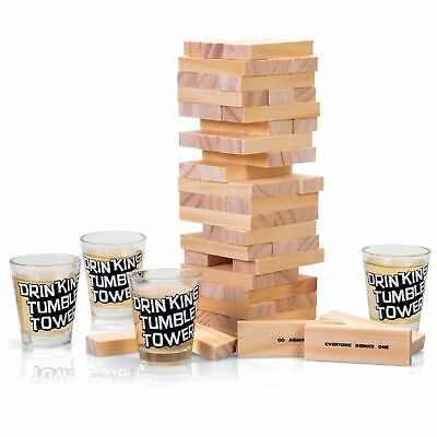 Drinking Tumble Tower 60 Wooden Blocks Drinking Dares Party Gift Novelty Adults • 10.69£