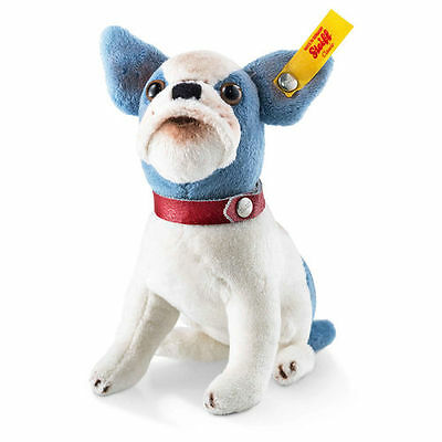 STEIFF Bulldog EAN 031441 Little Bully 12cm Blue White Plush Gift New • 39.95£