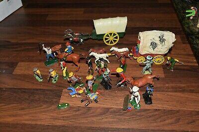 Job Lot Lone Star Herald And Crescent Etc Cowboys & Indians Wagons Benbros 1960s • 55£
