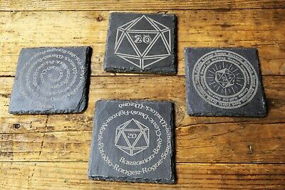 Dungeons And Dragons Theme Engraved Slate Coaster - DND, D&D Gift, RPG Gifts • 3.99£