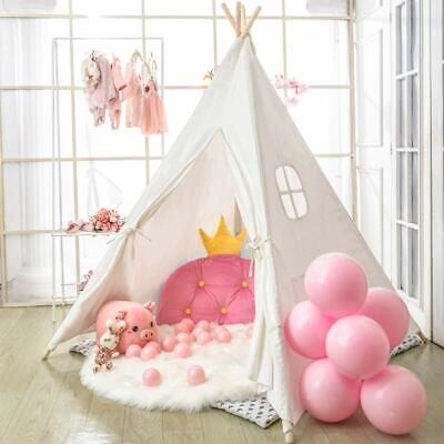 Large Canvas Children Indian Tent Teepee Kids Wigwam Indoor Outdoor Play House • 30.92£