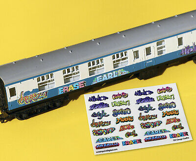 Model Railway GRAFFITI Stickers Decals HO OO Gauge Ideal For Coaches, Buildings • 6.95£