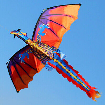 Ee_ 3d Flying Dragon Kite 328ft Large Line With Tail Outdoor Kids Play Toy Kindl • 10.74£