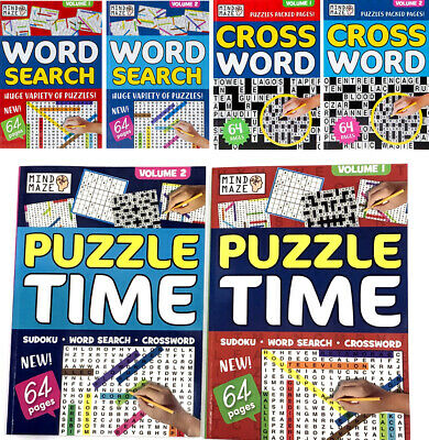 A4 Puzzle Book Child & Adult Activity Wordsearch Sudoku Bored At Home Off School • 4.75£