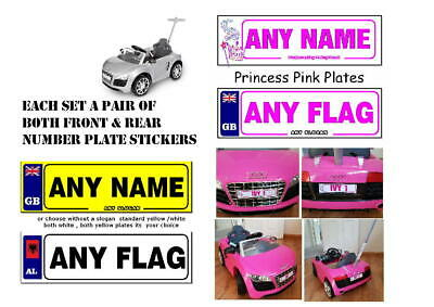 2 X PERSONALISED NUMBER PLATES  EXACT SIZE KIDS Ride On AUDI R8 PUSH BUGGY CAR • 2.49£