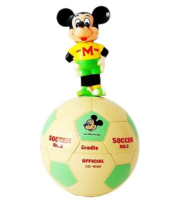 Vtg Walt Disney Productions Mickey Mouse Soccer Roly Poly Toy Wobbling Chiming • 18£