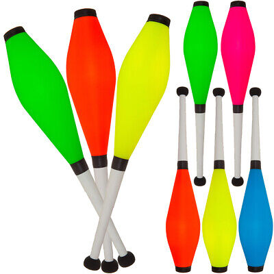 Juggling Clubs Set Of 3, Medium Air, Fluorescent Colours, Jac Products, New • 19.90£