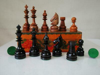 VINTAGE CHESS SET  CLUB PHILIPPINES STAUNTON  K 115  Mm AND BOX  BOARD • 145£