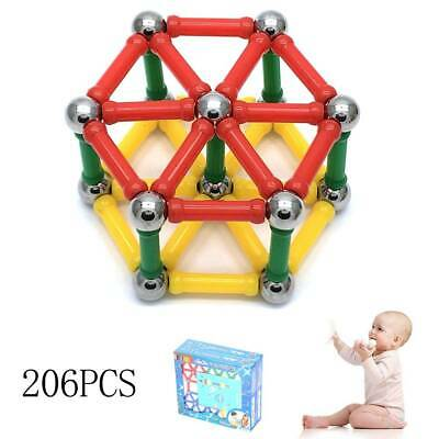 206Pcs Blocks Magnetic Educational Toys Tiles Building Baby Kids Xmas Gifts UK • 11.99£