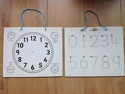 Children's Kids Educational Number And Clock Wipe Clean Boards, Writing/Maths • 4.99£