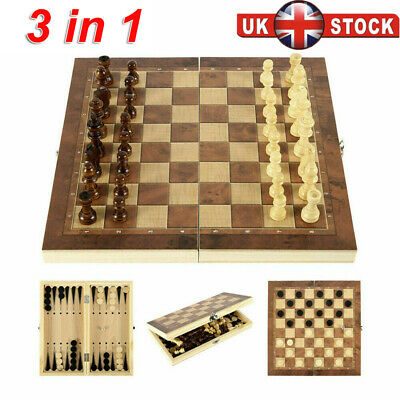 Folding Large Chess Wooden Set Chessboard Pieces Wood Board Gift Toy LE • 9.99£