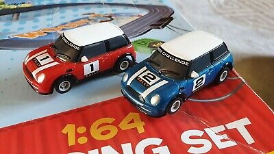 Micro Scalextric - Pair Of BMW Mini Cooper Cars. Good Working Condition. • 13.99£
