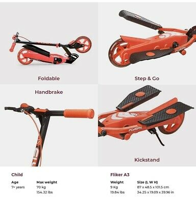 Yvolution Y Flyer Kids Foldable Pedalling Stepper Scooter Ages 7+ 100815-Red • 59.99£