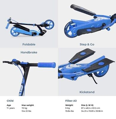 Yvolution Y Flyer Kids Foldable Pedalling Stepper Scooter Ages 7+ 100815-Blue • 49.99£